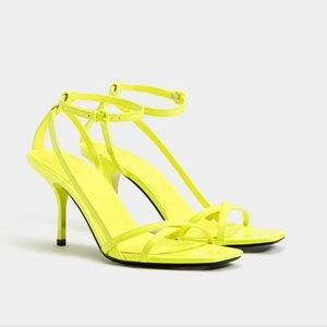 Bershka neon yellow faux patent multi strap heel